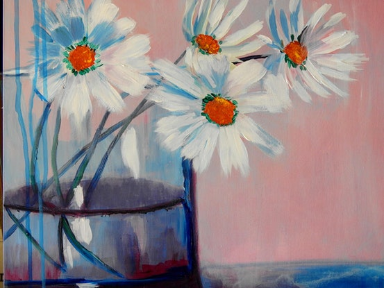 (CreativeWork) Daisies in a Vase by julie hollis. Acrylic Paint. Shop online at Bluethumb.