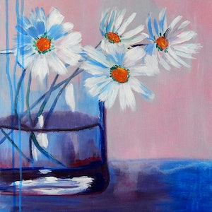 (CreativeWork) Daisies in a Vase by Julie Hollis. arcylic-painting. Shop online at Bluethumb.