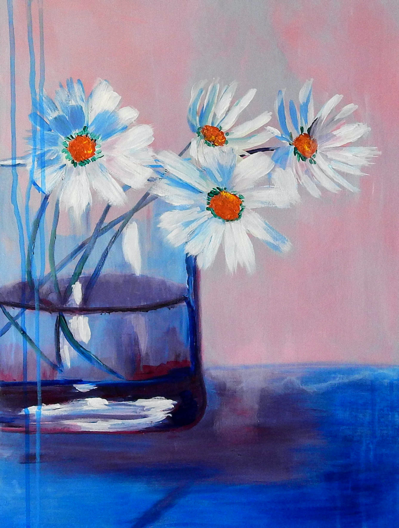 (CreativeWork) Daisies in a Vase by Julie Hollis. acrylic-painting. Shop online at Bluethumb.