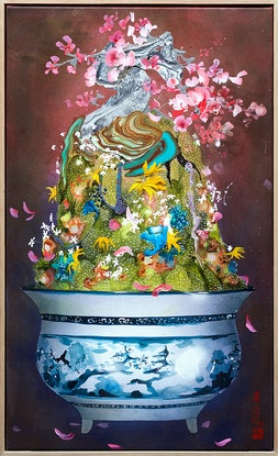 (CreativeWork) Tub O' Life: Sakura Bonsai by Amanda Krantz. Acrylic Paint. Shop online at Bluethumb.