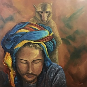 (CreativeWork) Our connection - Ready to hang by Christopher Vidal. oil-painting. Shop online at Bluethumb.