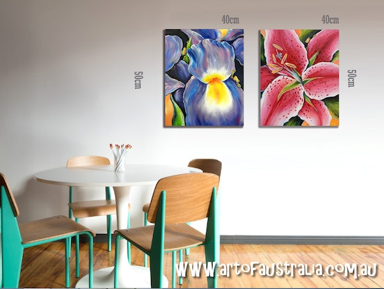 (CreativeWork) Frogs in Iris and Oriental Lily by Deb Broughton. Acrylic Paint. Shop online at Bluethumb.