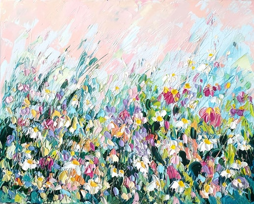 (CreativeWork) A cottage Garden 2 - Flower Landscape Painting by Angela Hawkey. Oil Paint. Shop online at Bluethumb.