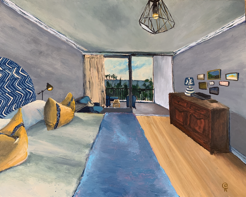 (CreativeWork) Hotel Room by Dylan Cooper. Acrylic Paint. Shop online at Bluethumb.