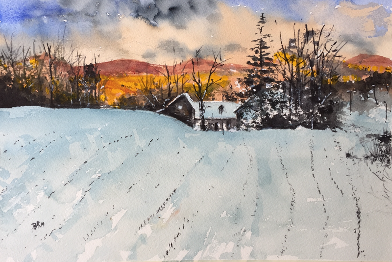 (CreativeWork) Good morning, Mr Frost by Bernd Rieve. Watercolour Paint. Shop online at Bluethumb.