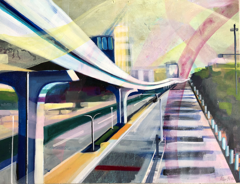 (CreativeWork) Tokyo Perspective by Alison Pilcher. Acrylic Paint. Shop online at Bluethumb.