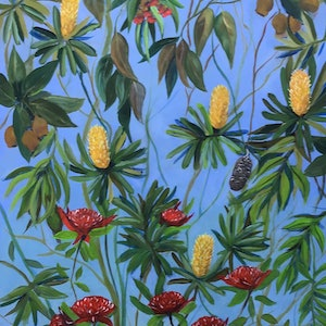 (CreativeWork) Banksia and Waratah  by Ron Brown. arcylic-painting. Shop online at Bluethumb.