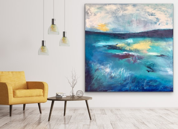 (CreativeWork) Star Light - Large Abstract Landscape by Emma Wreyford. Acrylic Paint. Shop online at Bluethumb.