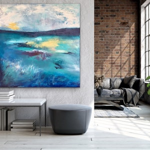 (CreativeWork) Star Light - Large Abstract Landscape by Emma Wreyford. acrylic-painting. Shop online at Bluethumb.