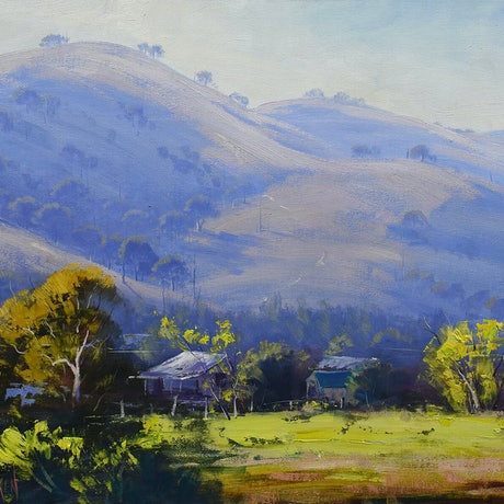 (CreativeWork) Morning landscape Sofala by Graham Gercken. Oil Paint. Shop online at Bluethumb.