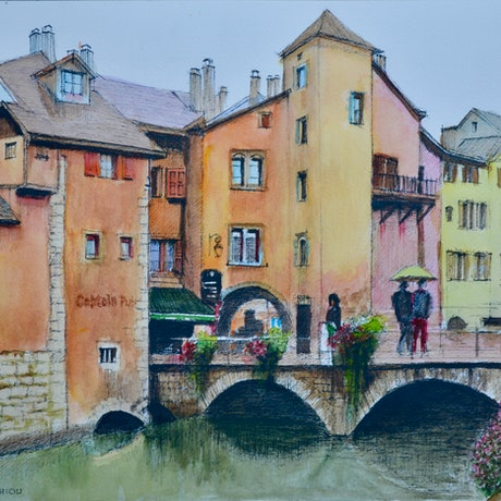 (CreativeWork) Annecy in the Rain by Dai Wynn. Watercolour Paint. Shop online at Bluethumb.