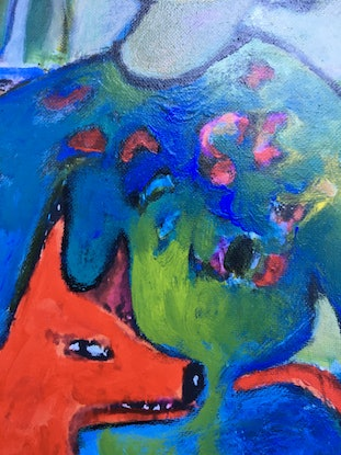 (CreativeWork) red dog by linda buller. Acrylic Paint. Shop online at Bluethumb.