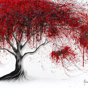 (CreativeWork) Scarlet Picnic Dream Tree by Ashvin Harrison. arcylic-painting. Shop online at Bluethumb.