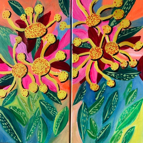 (CreativeWork) Floral by juliet murray. Acrylic Paint. Shop online at Bluethumb.