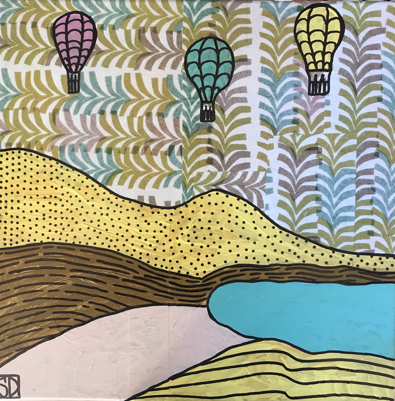 (CreativeWork) Hot air balloons landscape by Sally Dunbar. Mixed Media. Shop online at Bluethumb.