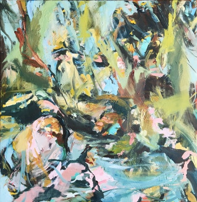 (CreativeWork) River Moments by Nicole Foxall. Oil Paint. Shop online at Bluethumb.