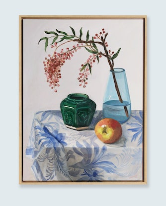 (CreativeWork) Still Life with Pink Peppercorn 2019 by Sally Browne. Oil Paint. Shop online at Bluethumb.