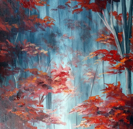 (CreativeWork) The Red Forest by Rhonda Armistead. Oil Paint. Shop online at Bluethumb.