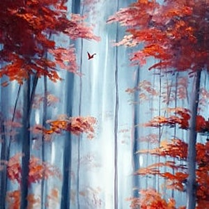 (CreativeWork) The Red Forest by Rhonda Armistead. oil-painting. Shop online at Bluethumb.