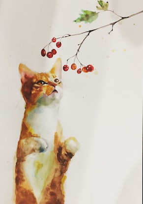 (CreativeWork) The cat's curiosity by Duillia Xu. Watercolour Paint. Shop online at Bluethumb.