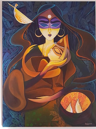 (CreativeWork) Mother and Child - My precious by Yagna Lad. Acrylic Paint. Shop online at Bluethumb.