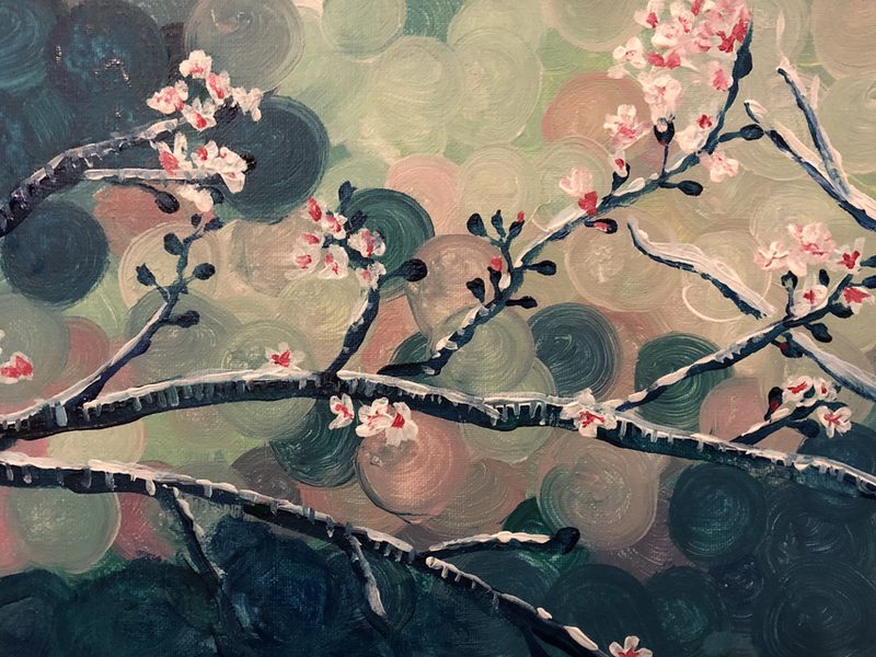 (CreativeWork) Almond blossom by juliet murray. Acrylic Paint. Shop online at Bluethumb.