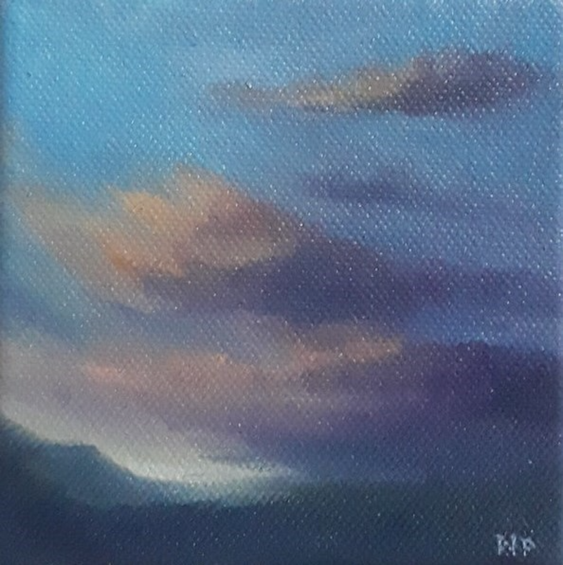 (CreativeWork) Winter sunset over Moorabool by Nerrida Parfitt. Oil Paint. Shop online at Bluethumb.