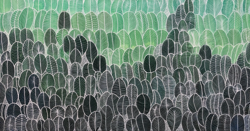 (CreativeWork) Abstract green leaves CZ19026 by Carol Zsolt. Acrylic Paint. Shop online at Bluethumb.
