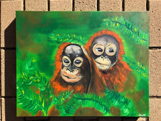 (CreativeWork) Together by Nicola Toms. Acrylic Paint. Shop online at Bluethumb.