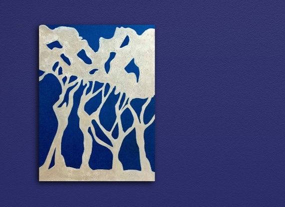 (CreativeWork) Midnight Trees by Koral Denholm. Acrylic Paint. Shop online at Bluethumb.