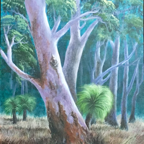 (CreativeWork) Bushland colours by Koral Denholm. Acrylic Paint. Shop online at Bluethumb.