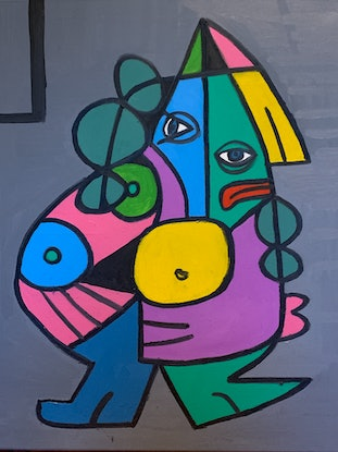 (CreativeWork) Two  heads by paul emons. Oil Paint. Shop online at Bluethumb.