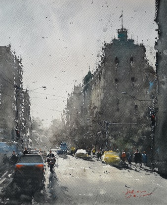 (CreativeWork) French street by jianqiang xu. Watercolour Paint. Shop online at Bluethumb.