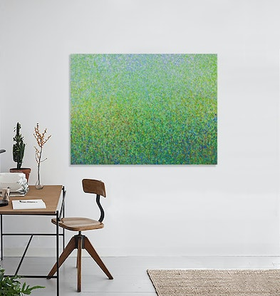 (CreativeWork) 'The Green Pollination'  Acrylic paint on canvas  120 x 90cm   by George Hall. Acrylic Paint. Shop online at Bluethumb.