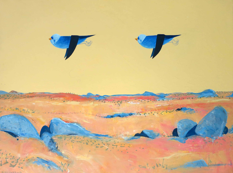 (CreativeWork) Two Budgies Over Drought Land  by John Graham. Oil Paint. Shop online at Bluethumb.