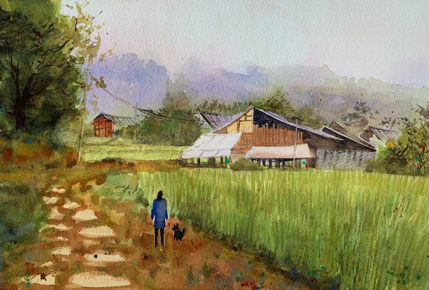 (CreativeWork) Summer time in village  by Shelly Du. Watercolour Paint. Shop online at Bluethumb.