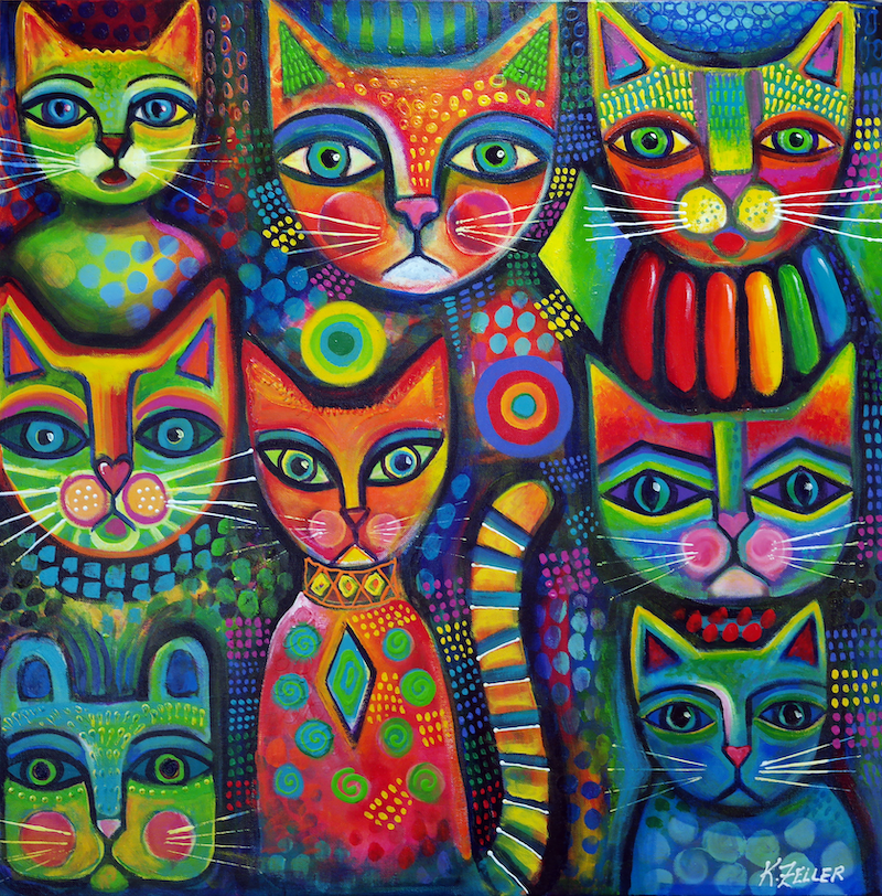 (CreativeWork) 8 Colourful Cats by Karin Zeller. Acrylic Paint. Shop online at Bluethumb.