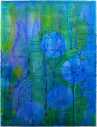 (CreativeWork) Blue, Green and Purple by Susana Depetris. Acrylic Paint. Shop online at Bluethumb.