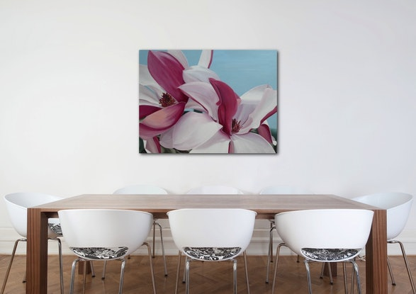 (CreativeWork) Spring Magnolias by Patricia Hillard. Acrylic Paint. Shop online at Bluethumb.