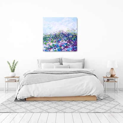 (CreativeWork) Flower Fields Of France - Large Abstract Flower Landscape by Angela Hawkey. Acrylic Paint. Shop online at Bluethumb.