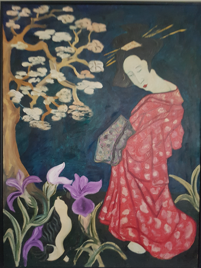 (CreativeWork) Geisha on holiday by maurice lempire. Oil Paint. Shop online at Bluethumb.
