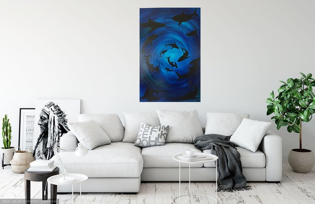 (CreativeWork) Shadows of the deep by Jenny Baker. Acrylic Paint. Shop online at Bluethumb.