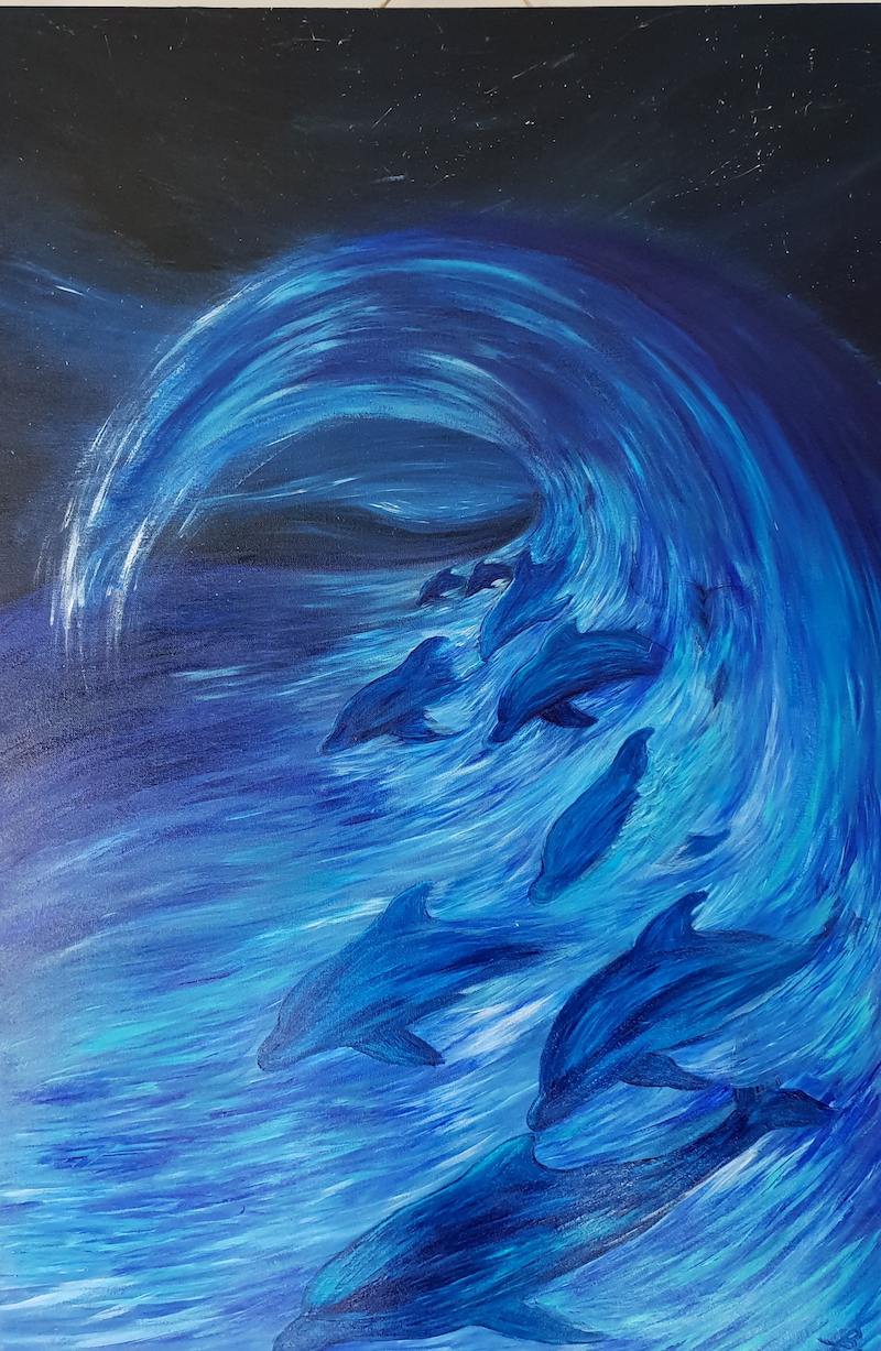 (CreativeWork) Amongst the waves by Jenny Baker. Acrylic Paint. Shop online at Bluethumb.