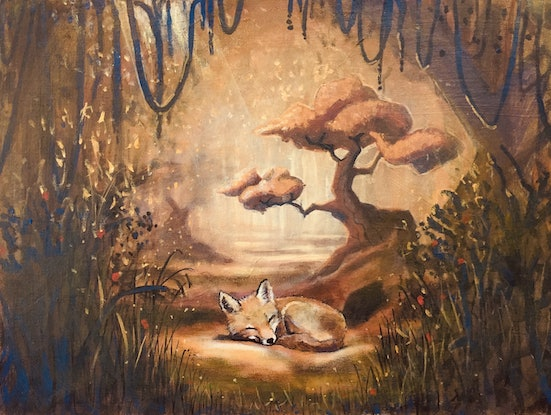 (CreativeWork) Little Fox  by Ross Morgan. Acrylic Paint. Shop online at Bluethumb.