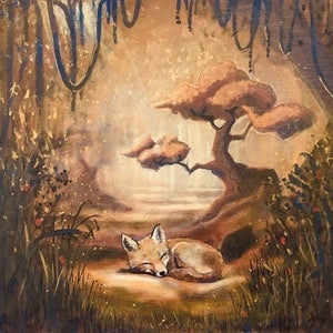 (CreativeWork) Little Fox  by Ross Morgan. arcylic-painting. Shop online at Bluethumb.