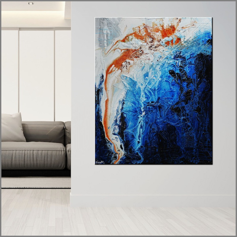 (CreativeWork) Blue Utopia 120cm x 150cm Blue Grey Rust Textured Acrylic Abstract Gloss Finish FRANKO by _Franko _. Acrylic Paint. Shop online at Bluethumb.