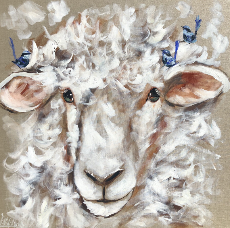 (CreativeWork) Woollie sheep and blue wrens  by Amanda Brooks. Acrylic Paint. Shop online at Bluethumb.
