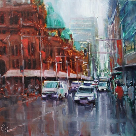 (CreativeWork) George street, Sydney by HIREN PATEL. Oil Paint. Shop online at Bluethumb.