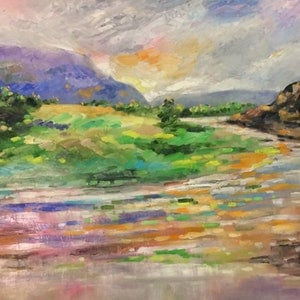 (CreativeWork) Pink horizons by sue bannister. oil-painting. Shop online at Bluethumb.