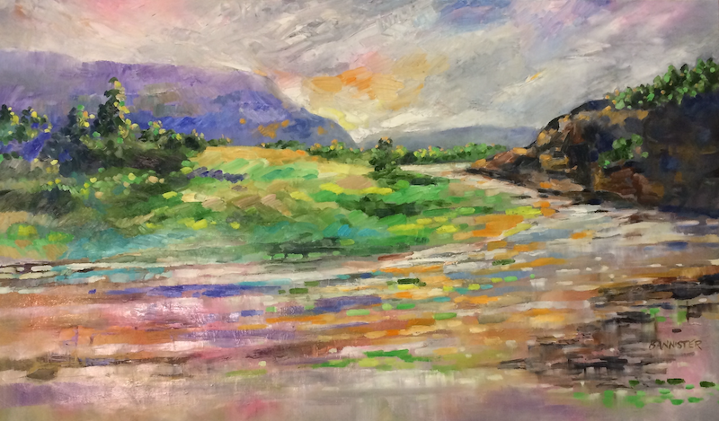 (CreativeWork) Pink horizons by sue bannister. Oil Paint. Shop online at Bluethumb.